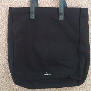 Carpisa Italy Bags - Carpisa Italy Black White Faux Leather Canvas Tote